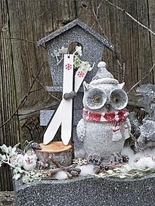 Dekorácie - Zimná dekorácia so sovičkou lyžiarkou - 12709414_