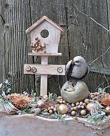Dekorácie - Vianočná dekorácia s vtáčikom - 12709457_