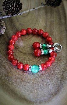 Sady šperkov - koralový jadeit náramok a náušnice - vianočný set - 12711161_