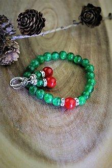 Sady šperkov - smaragdový jadeit náramok a náušnice - vianočný set - 12711314_