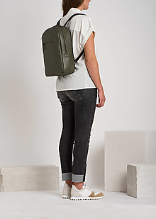 Batohy - Leather backpack Olive - 12709195_