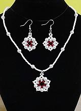 Sady šperkov - Bielo-červený set - 12709869_