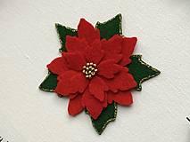Odznaky/Brošne - Vianočná ruža brošňa  (Červená) - 12713297_