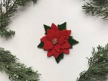 Odznaky/Brošne - Vianočná ruža brošňa  (Červená) - 12713298_