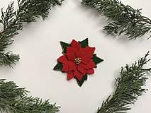 Odznaky/Brošne - Vianočná ruža brošňa  (Červená) - 12713299_