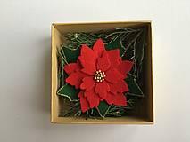 Odznaky/Brošne - Vianočná ruža brošňa  (Červená) - 12713300_