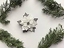 Odznaky/Brošne - Vianočná ruža brošňa  (Biela) - 12713307_