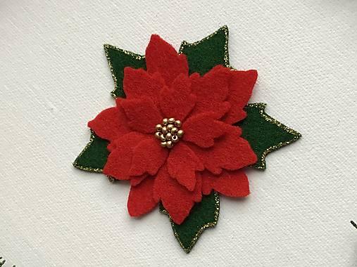 Vianočná ruža brošňa  (Červená)
