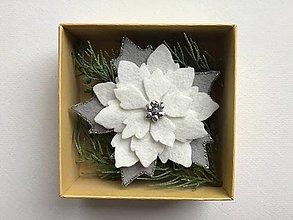Odznaky/Brošne - Vianočná ruža brošňa  (Biela) - 12713306_