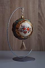 Dekorácie - Vintage vianočná ozdoba guľa obojstranná - 12713400_