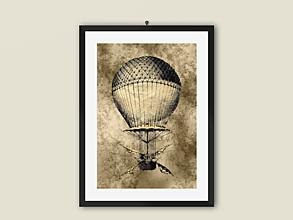 Grafika - Art Print, STEAMPUNK-Hot air balloon, obrázok na stenu - 12709895_