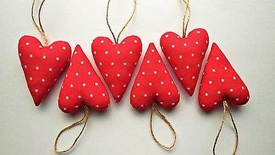 Dekorácie - Srdiečka vianočné červené sada - 12711578_