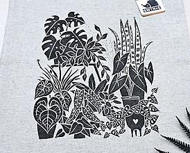 Nákupné tašky - Izbové rastlinky (Sivá) - 12716883_