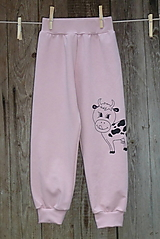 Detské oblečenie - Ružové tepláčky Kravička - 12714544_