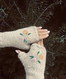 Rukavice - Bezprstové rukavičky. (Béžová) - 12717098_