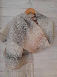 Šály - Ručne tkaný béžový šál - vlnky - 12717289_