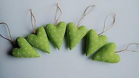 Dekorácie - Srdiečka vianočné zelené sada - 12715073_
