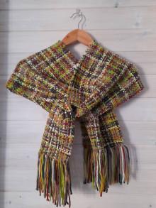 Šály - Ručne tkaný zelený pestrofarebný šál - 12719730_