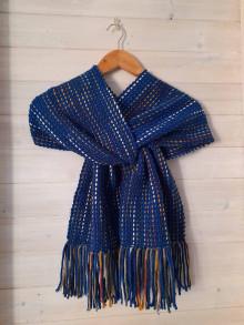 Šály - Ručne tkaný modrý šál - 12719827_