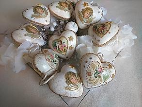 Dekorácie - Vianočné srdiečka s anjelikmi - sada 9 ks - 12722491_