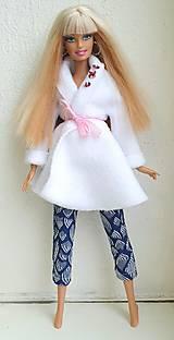 Hračky - Biely kabátik pre Barbie - 12722983_