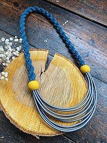 Náhrdelníky - Šedo-petrolejový náhrdelník - 12723300_