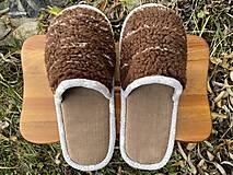Obuv - Huňaté papuče z poťahovky - 12719480_