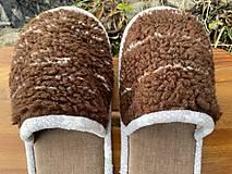 Obuv - Huňaté papuče z poťahovky - 12719481_