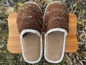 Ponožky, pančuchy, obuv - Huňaté papuče z poťahovky - 12719480_