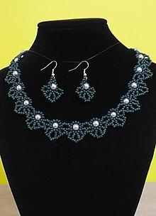 Sady šperkov - Elegantný tmavo zelený set - 12718969_