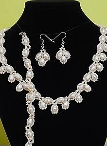 Sady šperkov - Béžový svadobný set - 12719276_