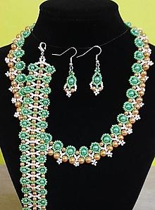 Sady šperkov - Zeleno-zlatý perlový set - 12719312_