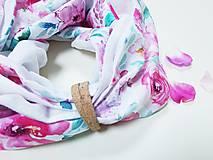 Šály - Dámsky ľanovo bavlnený dvojfarebný nákrčník - biely ľan+dizajnová bavlna - 12721507_