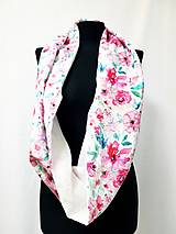 Šály - Dámsky ľanovo bavlnený dvojfarebný nákrčník - biely ľan+dizajnová bavlna - 12721508_