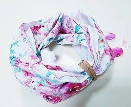 Šály - Dámsky ľanovo bavlnený dvojfarebný nákrčník - biely ľan+dizajnová bavlna - 12721509_