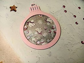 """Papiernictvo - Vianočná pohľadnica Guľa """"hrkálka"""" (Medvede Ružová) - 12723031_"""
