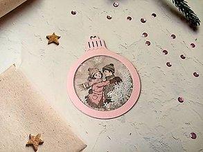 """Papiernictvo - Vianočná pohľadnica Guľa """"hrkálka"""" (Dvojica Ružová) - 12723034_"""