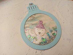 """Papiernictvo - Vianočná pohľadnica Guľa """"hrkálka"""" (Medveď Modrá) - 12723038_"""