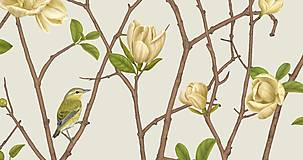 Grafika - TENNESSEE WARBLER ON TWIG WITH MAGNOLIA 2 - 12720719_
