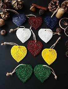 Dekorácie - Vianočné srdiečka farebný mix - 12725846_