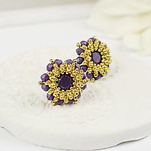 Náušnice - šité náušnice KVIETKY (violet opal - Ag 925) - 12726233_
