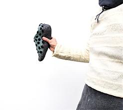 Obuv - Bodkované papuče zeleno-modré - 12725019_
