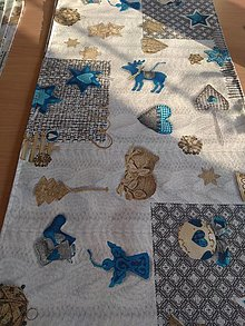 Úžitkový textil - Štóla  vianočná v modrom - 12727246_