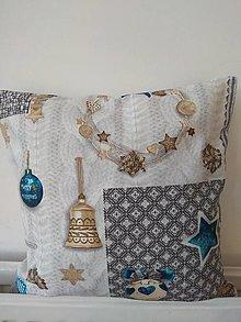 Úžitkový textil - Vankúš vianočný v modrom - 12727259_