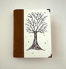 """Papiernictvo - Ručne šitý KRESLENÝ * zápisník * sketchbook ,,Strom"""" A5 s koženým chrbtom - 12724514_"""