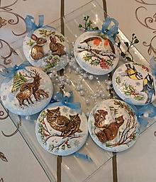 Dekorácie - Vianočné medailónky - Zvieratkovo - sada 6 ks - 12727066_