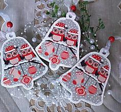 Dekorácie - Zvončeky so sovičkami a vločkami - sada 3 ks - 12727146_