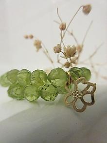 Náramky - Olivínový so zlatým kvetom - 12726882_