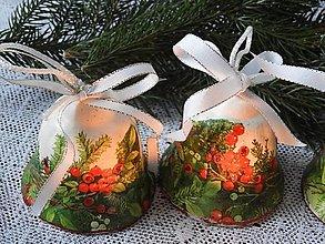 Dekorácie - Dárkový keramický zvoneček/zvonček vánoční girlanda - 12726918_