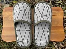 Obuv - Vzorované šedé papuče z poťahovky - 12723694_